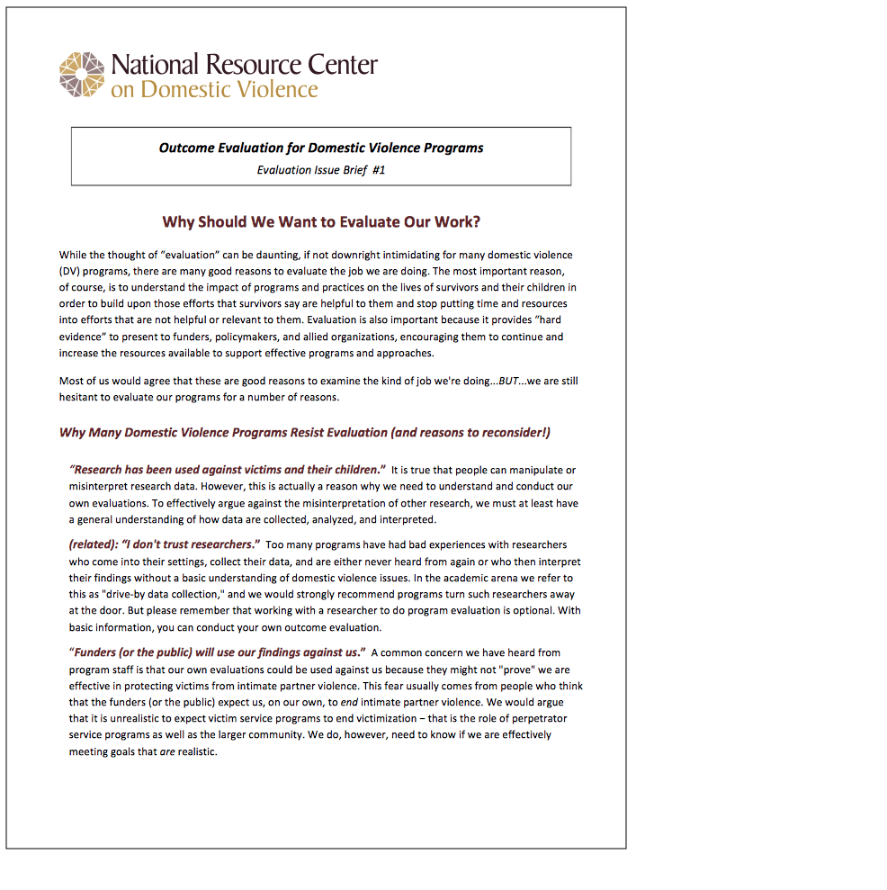 NRCDV Evaluation Issue Briefs